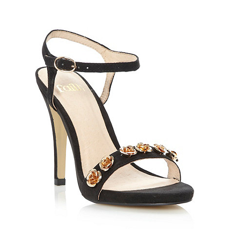Faith - Black metallic flower high heeled sandals