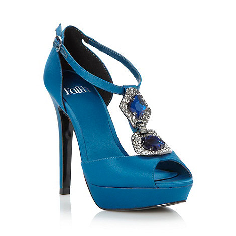 Faith - Turquoise satin pave chain high heeled sandals