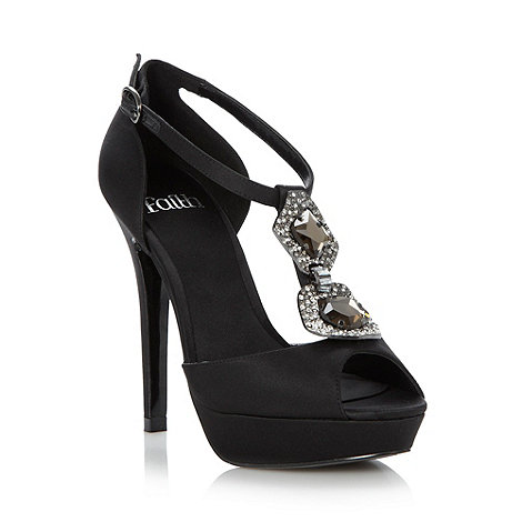 Faith - Black satin pave chain high heeled sandals