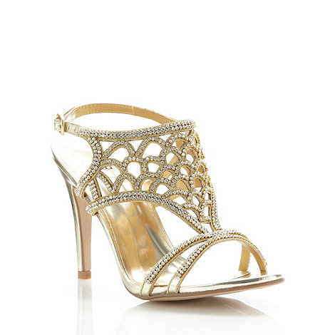 Faith - Gold caged diamante high sandals