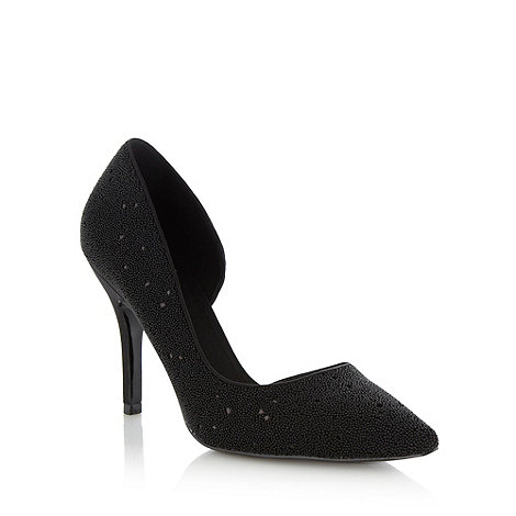 Faith - Black textured asymmetric high heeled court shoes