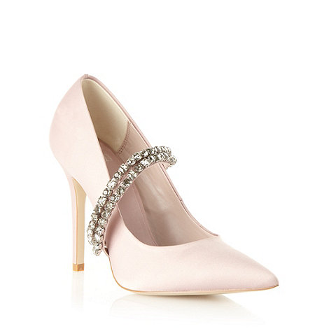 Faith - Pale pink satin beaded high court shoes