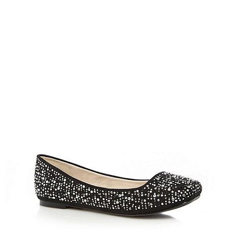Faith - Black gem studded square toes pumps
