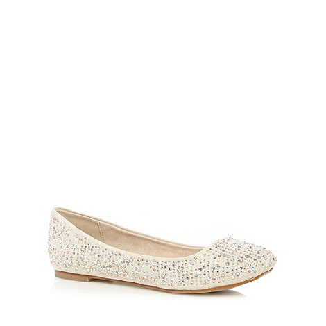 Faith - Light taupe gem studded square toes pumps