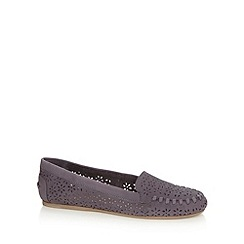 Faith - Navy leather flat shoes