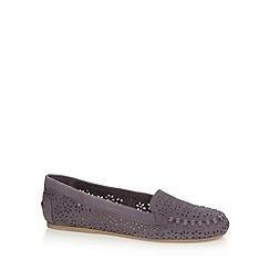 Faith - Navy leather flat shoes