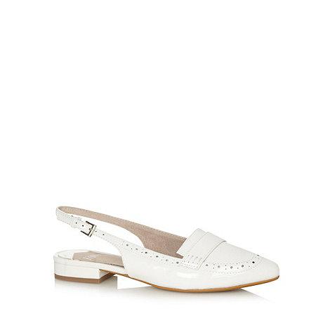Faith - White patent slingback brogue shoes