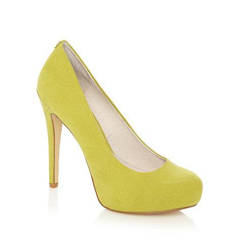 Faith - Lime suedette platform court shoes
