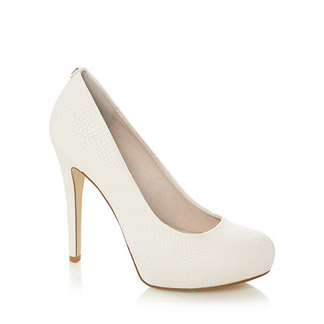 Faith - Ivory snakeskin platform court shoes