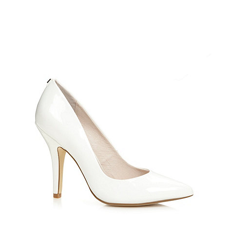 Faith - White patent pointed court shoes