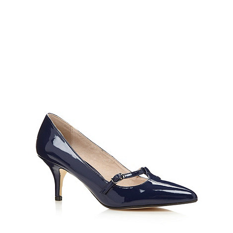 Faith - Navy patent pointed mid court shoes
