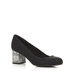 Faith - Black mid snakeskin heel court shoes