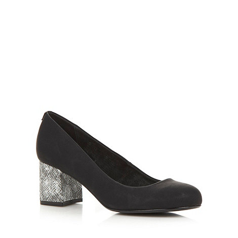 Faith - Black mid snakeskin heel court shoes