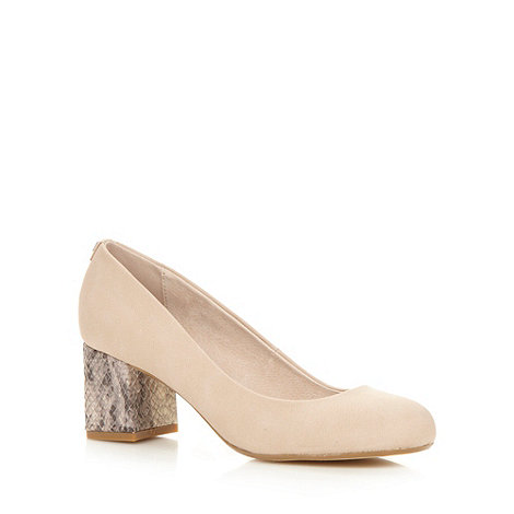 Faith - Natural mid snakeskin heel court shoes