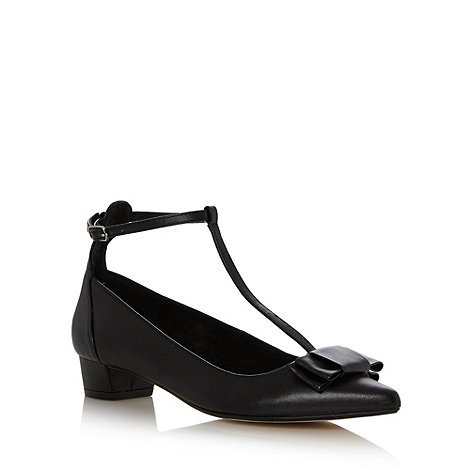 Faith - Black pointed bow detail mid court shoes