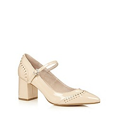 Faith - Natural patent block heel court shoes