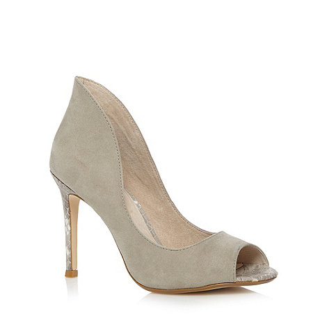 Faith - Grey suedette snakeskin court shoes