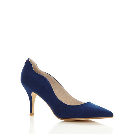 Faith - Navy scalloped mid heel court shoes