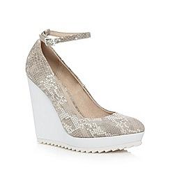 Faith - Grey snakeskin pointed toe wedge court shoes