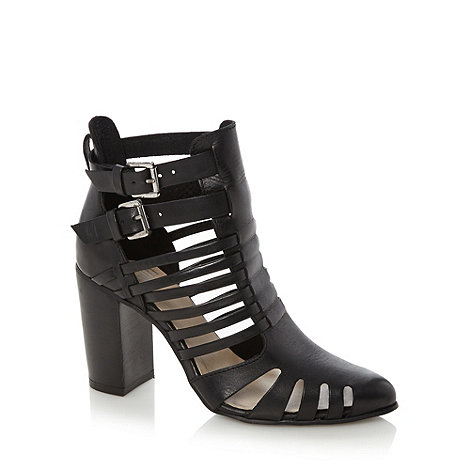 Faith - Black leather heeled strappy sandals