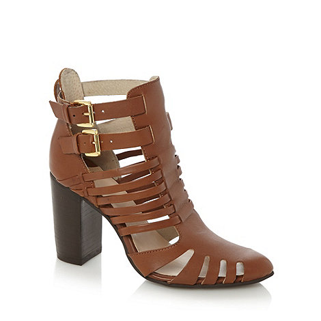 Faith - Tan leather heeled strappy sandals