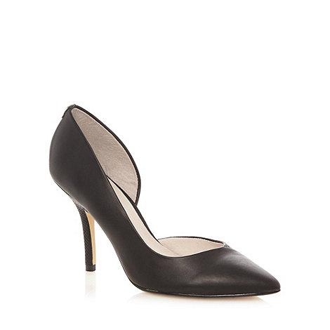 Faith - Black mock snakeskin panelled high court shoes