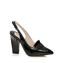 Faith - Black patent punched hole sling back high heel shoes