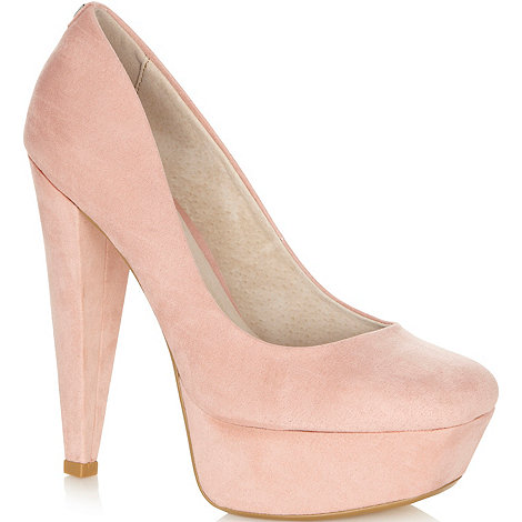 Faith - Pale pink high platform court shoes