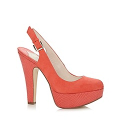 Faith - Coral suede effect slingback court shoes