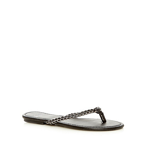 Faith - Black and silver flip flop sandals
