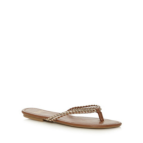 Faith - Tan and gold flip flop sandals