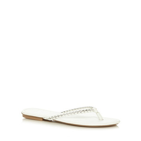 Faith - White and silver flip flop sandals