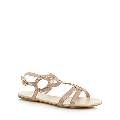 Faith - Light gold lizard textured loop strap sandals