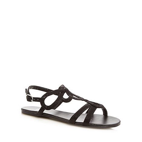 Faith - Black lizard textured loop strap sandals