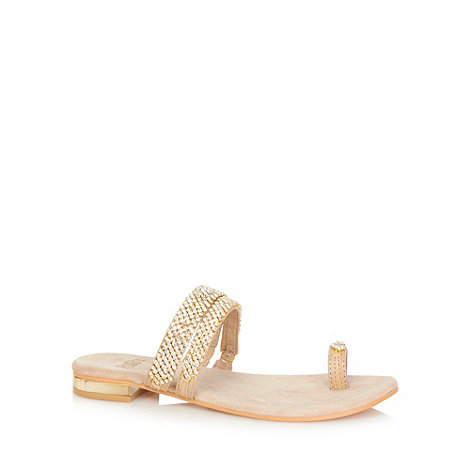 Faith - Natural diamante embellished sandals