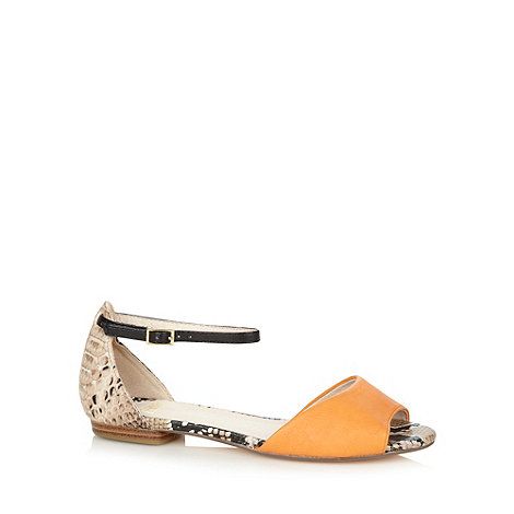 Faith - Orange plain and snakeskin print flat sandals