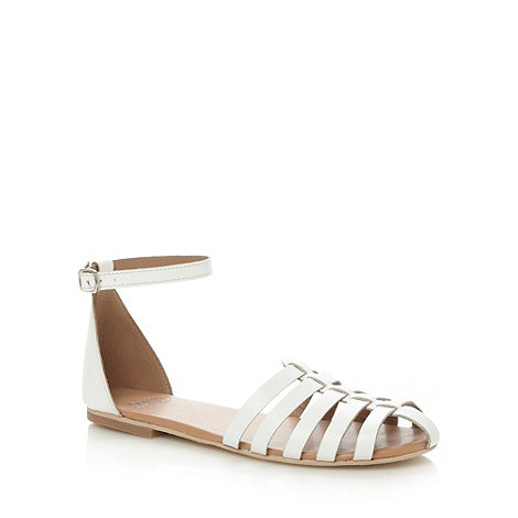 Faith - White leather caged multi strap sandals