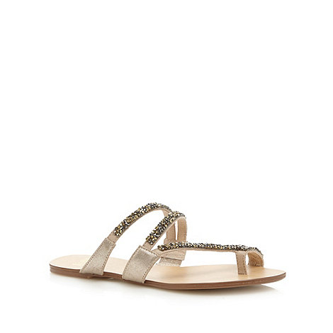 Faith - Light gold rhinestone strap flip flops