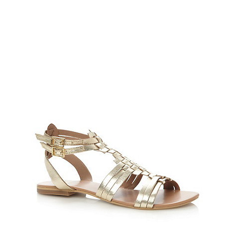 Faith - Gold leather weave strap sandals