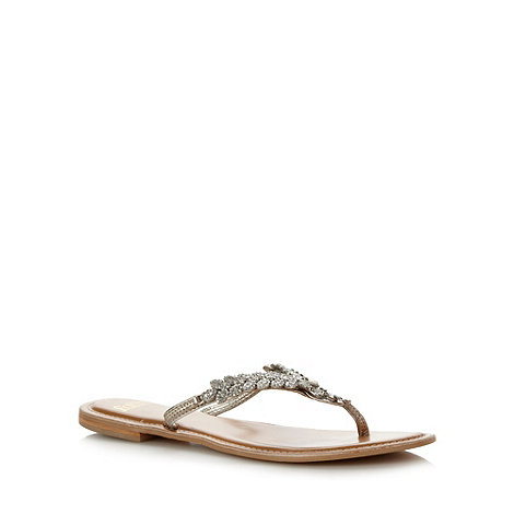 Faith - Pale gold embellished toe bar flip flops