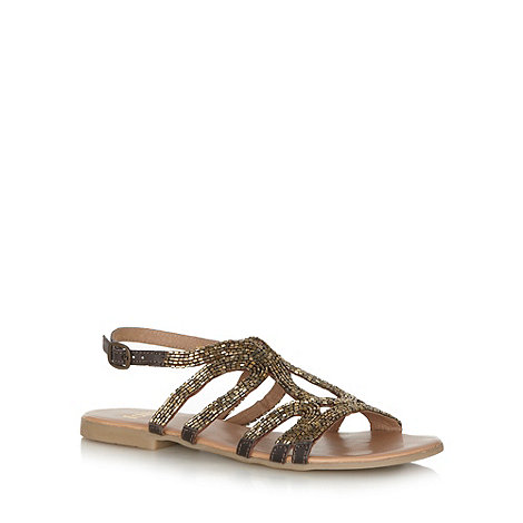 Faith - Brown beaded leather strap sandals