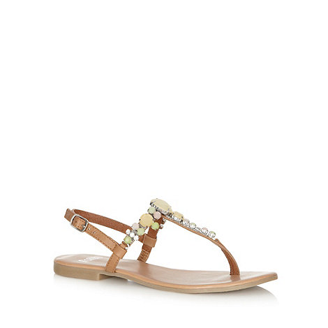 Faith - Tan leather jewel toe post strap sandals