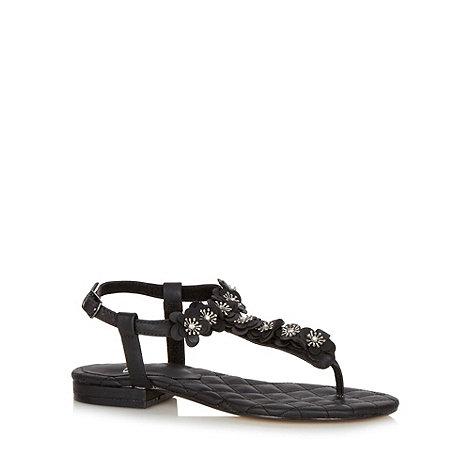 Faith - Black 3D flower sandals