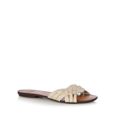 Faith - White leather plaited strap flip flops