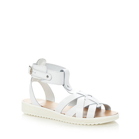 Faith - White leather crossover strap sandals