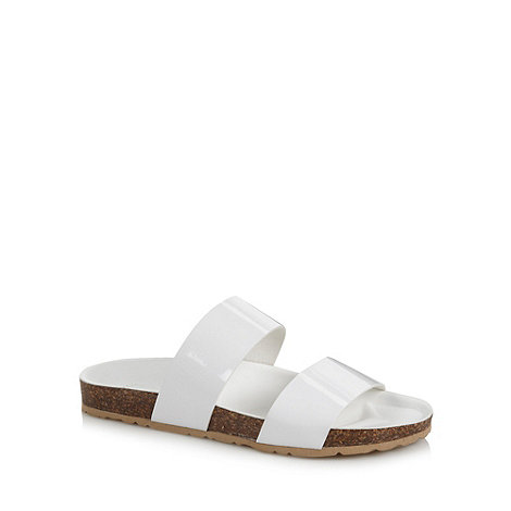Faith - White strap flat moulded sandals