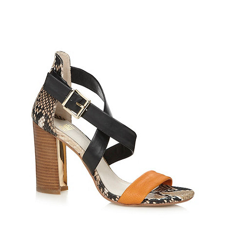 Faith - Brown snake print colour block high heel sandals