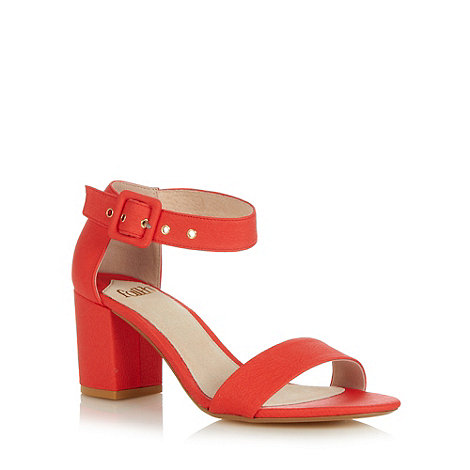 Faith - Dark orange mid block heel sandals