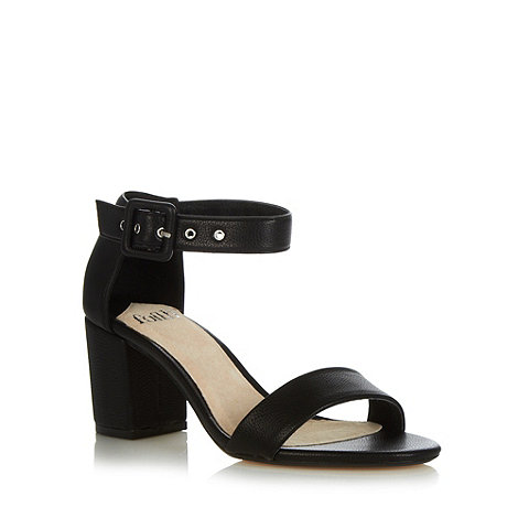 Faith - Black mid block heel sandals