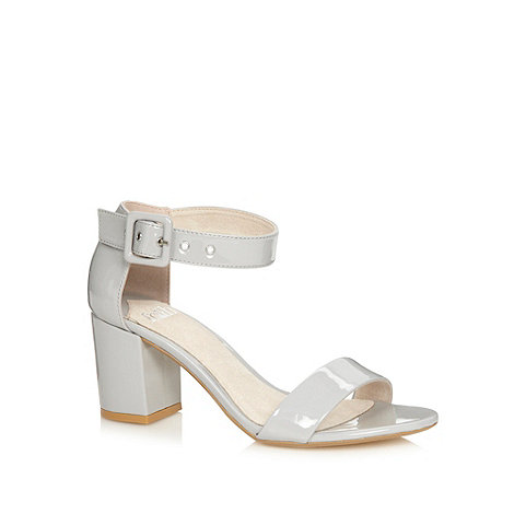 Faith - Light grey patent mid heeled sandals